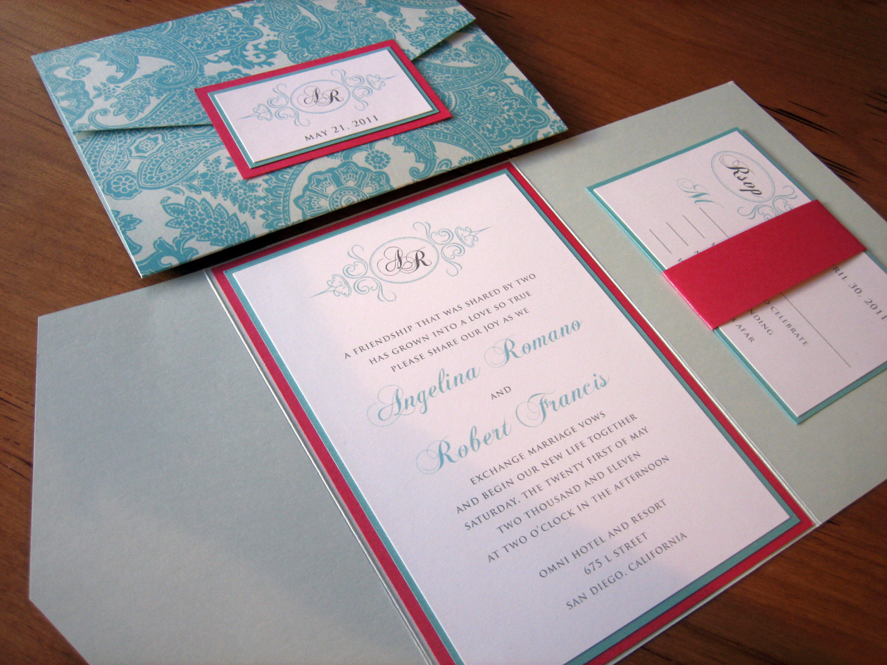 tiffany blue and pink wedding invitations
