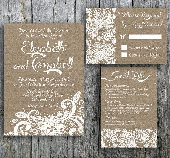 Beautiful Burlap and Lace Wedding Invitations Sang Maestro