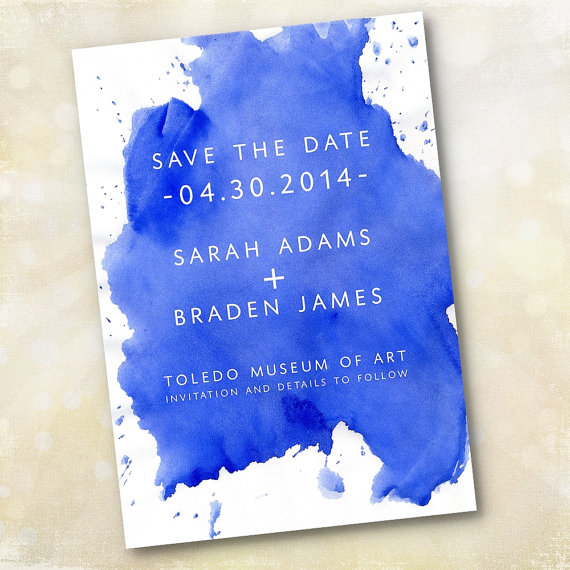 unique cobalt blue wedding invitation