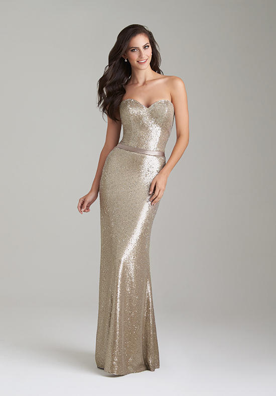 gold sweetheart bridesmaid dress