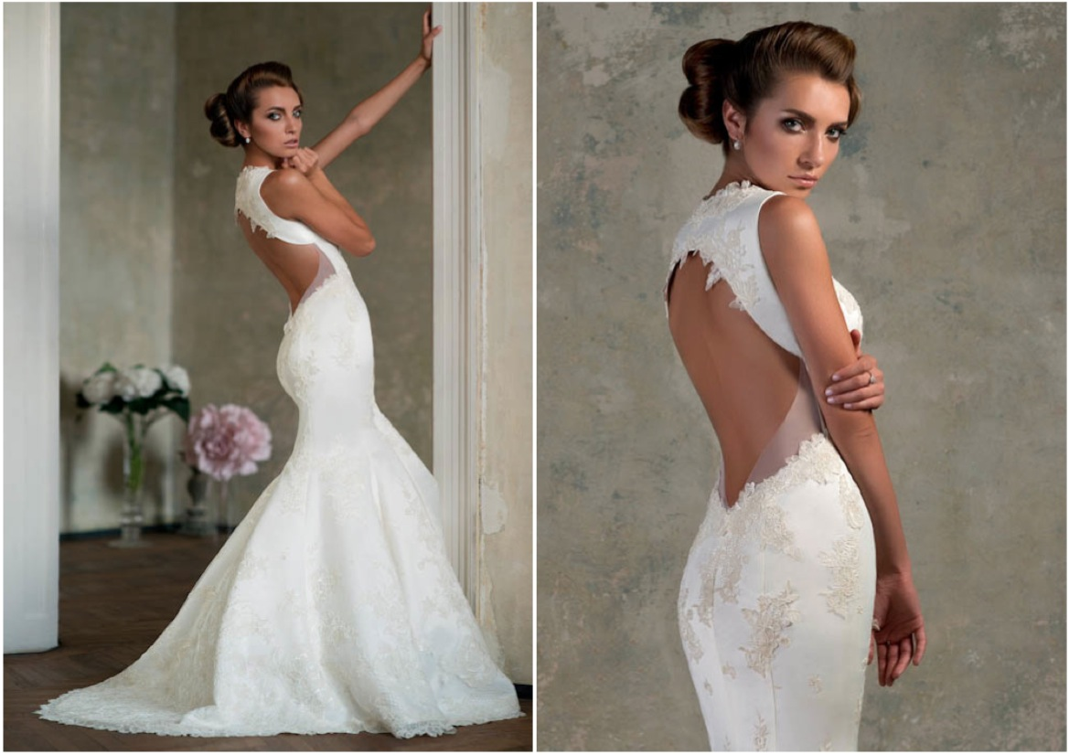 wedding dress with open back by Bien Savvy