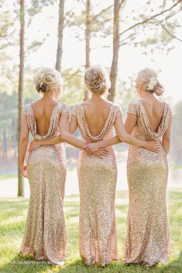 glitter gold bridesmaid dresses with open back