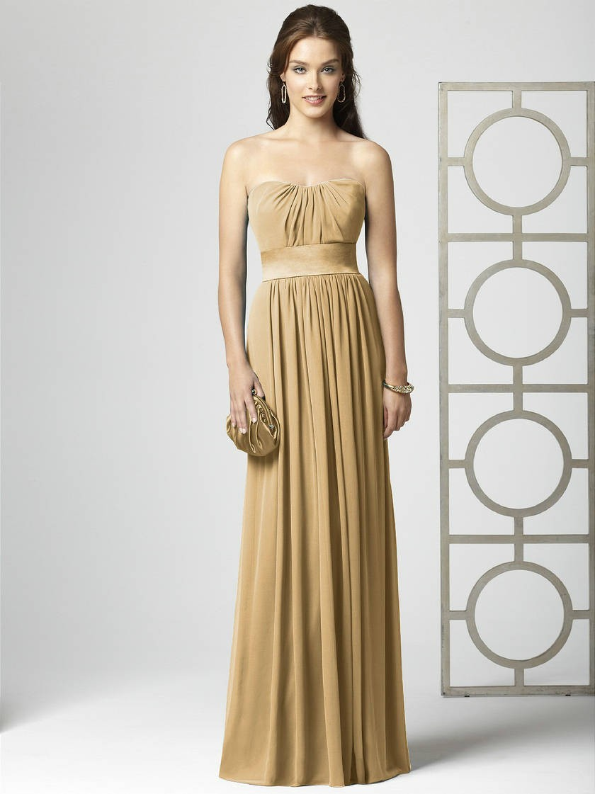 gold chiffon bridesmaid dress sang maestro