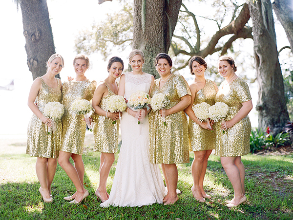 gold glitter bridesmaid dresses with short length