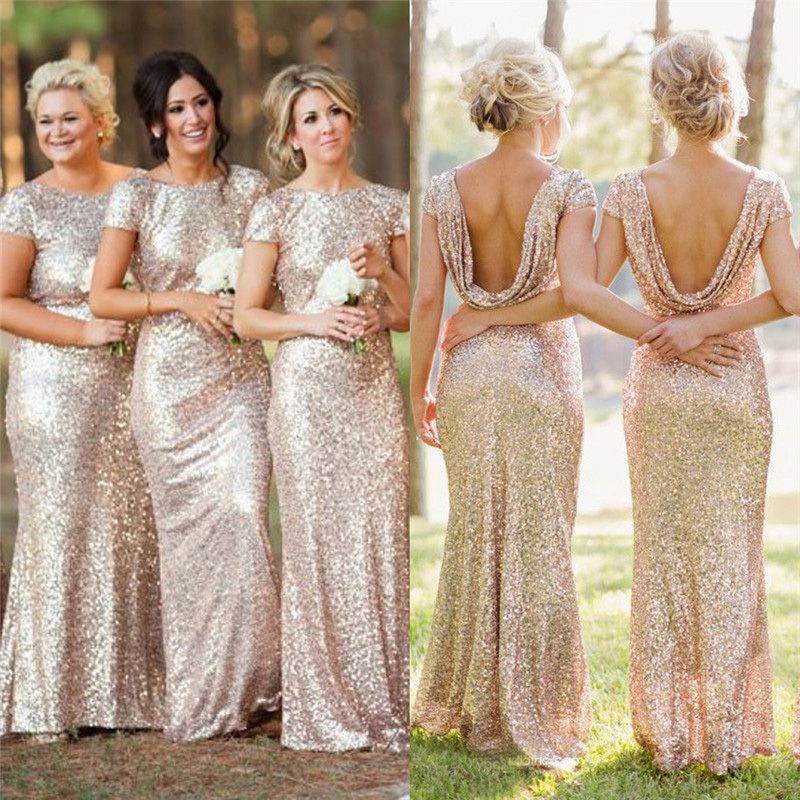 gold sequin bridesmaid dresses with open back