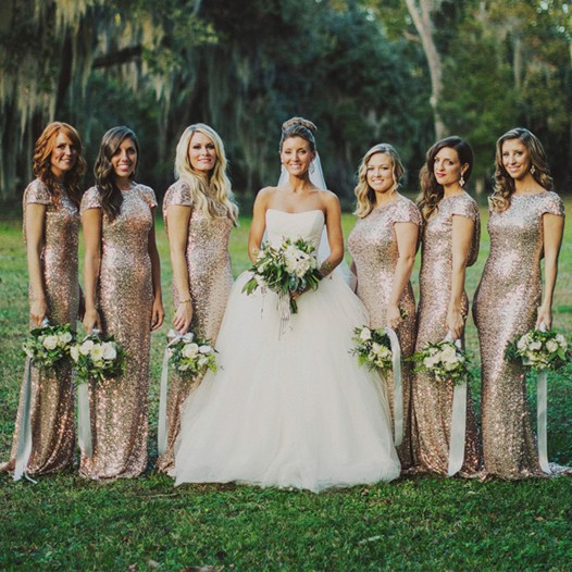 light gold bridesmaid dresses with short sleeves