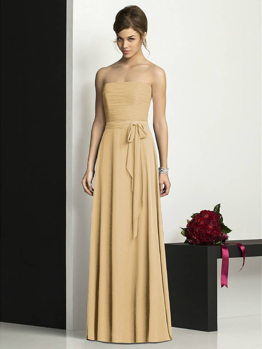 gold a-line chiffon bridesmaid dress