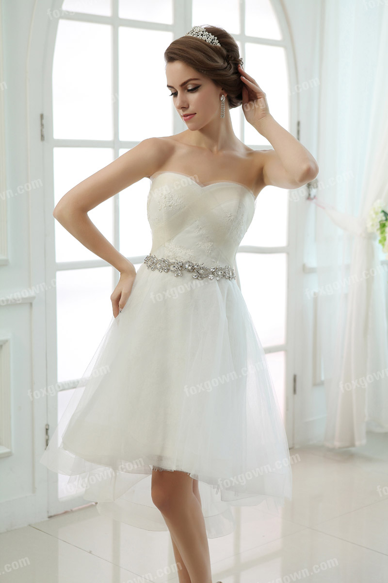 short beaded strapless wedding dress
