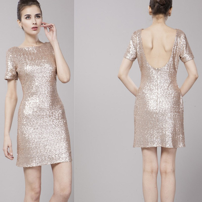 elegant short gold bridesmaid dresses sang maestro
