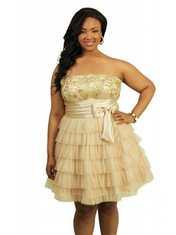 short plus size gold bridesmaid dress