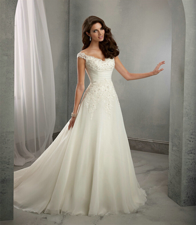 beach a-line wedding dress with cap sleeves