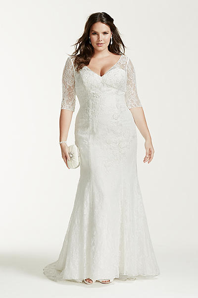 plus size trumpet lace wedding dress with sleeves