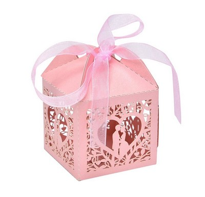 colorful paper box with ribbon
