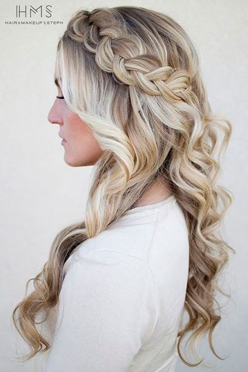 long blonde braided prom hairstyle down