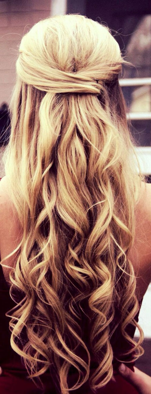 prom hairstyle down long blond - Sang Maestro