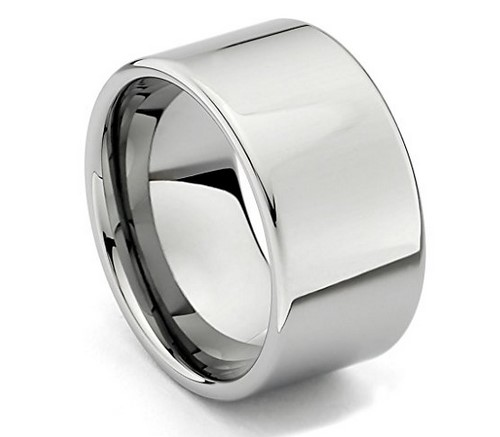 12mm flat men's tungsten wedding band