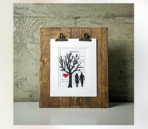 3d paper tree and hearts on sheet music
