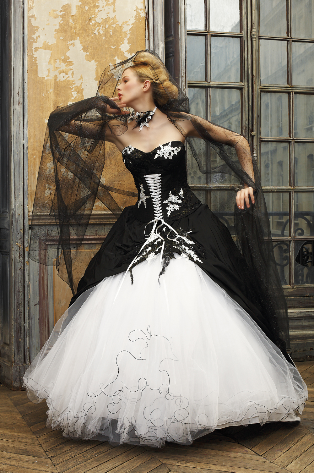 black and white ball gown wedding dress with corset