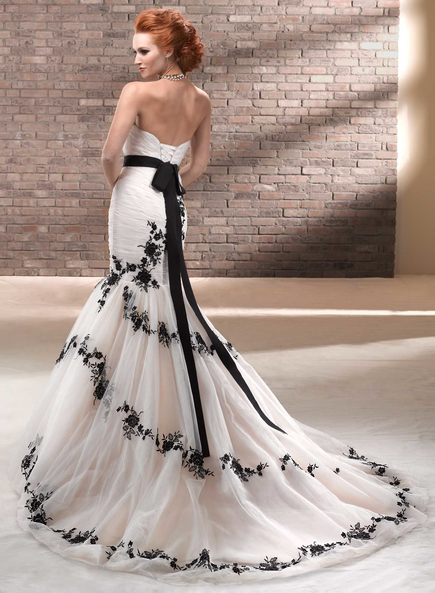 black and white corset wedding dress with sash