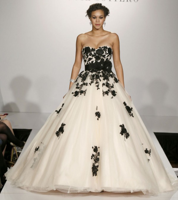 black and white sweetheart wedding dress