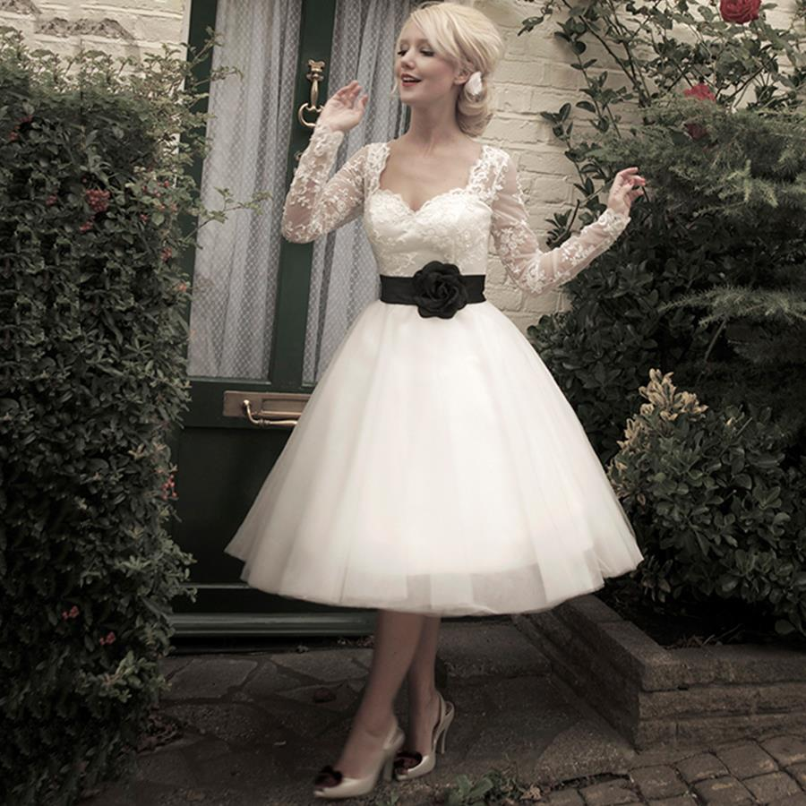 short black and white wedding dress