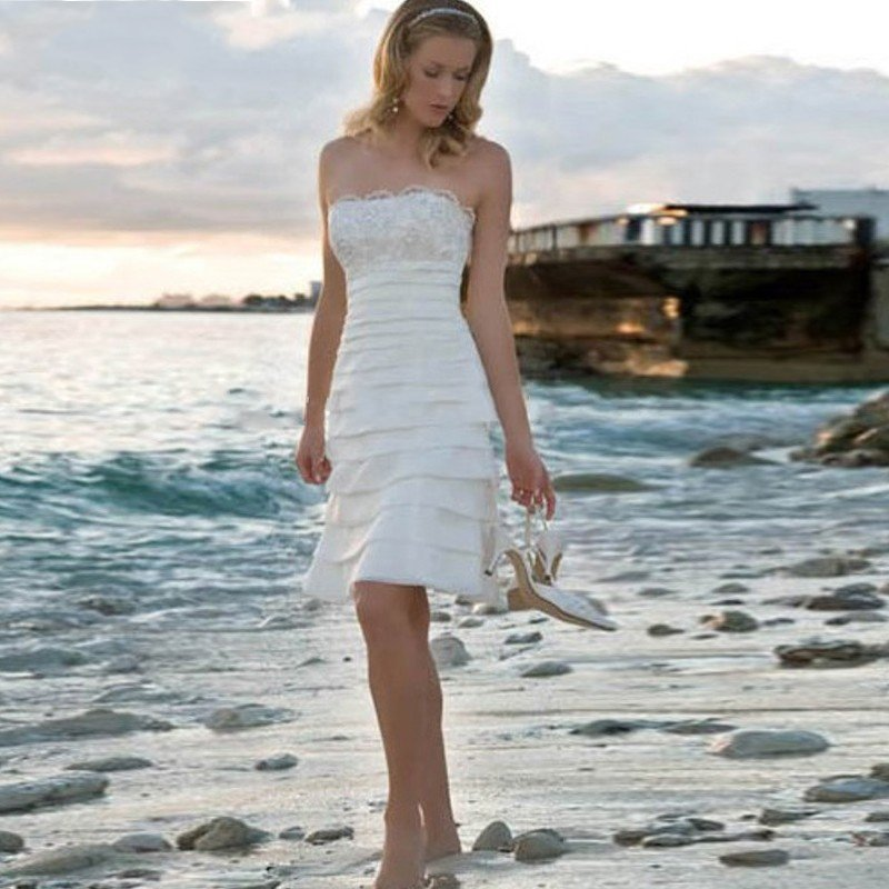 Elegant Short White Beach Wedding Dresses | Sang Maestro