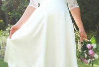 short white country lace wedding dress with sleeves