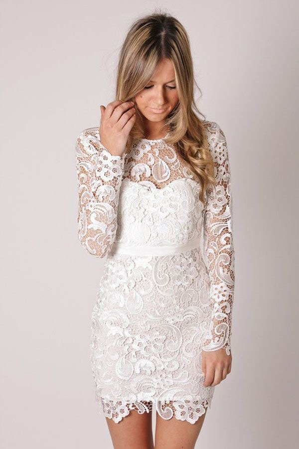 short white lace boho wedding dress