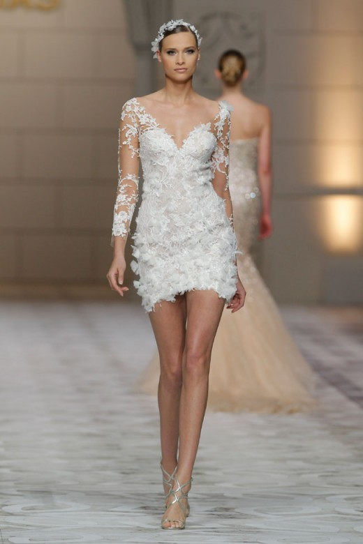 short white lace wedding dress with v-neck