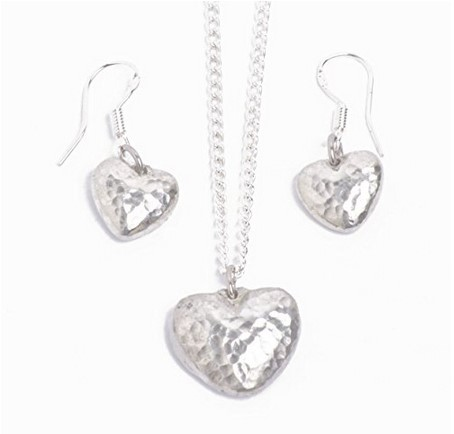 tin pendant and earring set