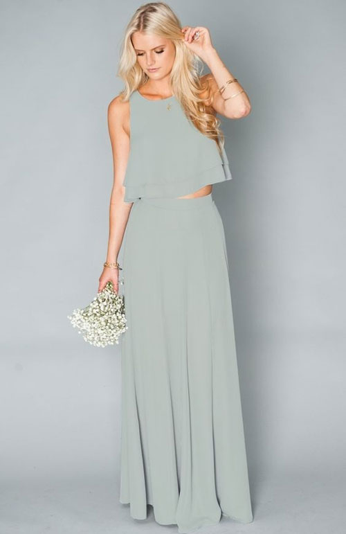 2 piece sage bridesmaid dress