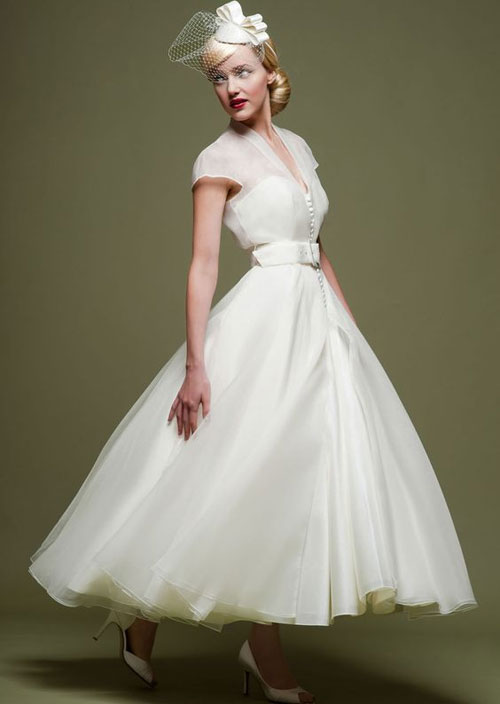 50s inspired tea length ball gown wedding dress