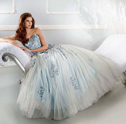 baby blue and white wedding dress
