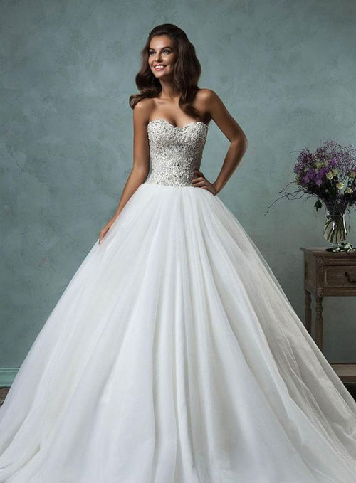 ball gown sweetheart wedding dress with bling