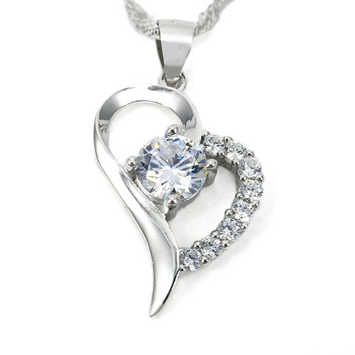 heart shaped sterling silver pendant necklace