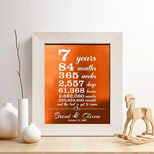 Personalized 7th Copper Anniversary Gift For Him Or Her