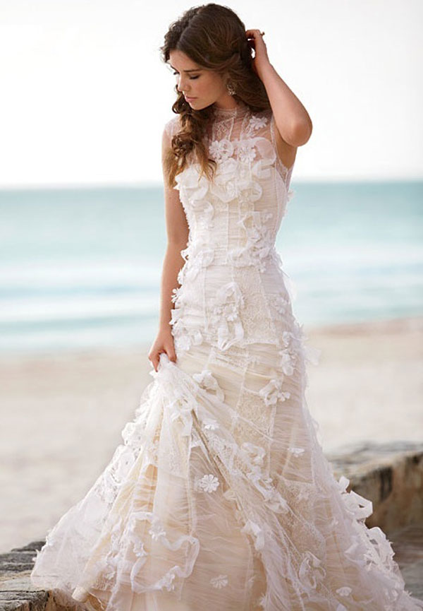 Lace beach wedding dress sang maestro for Lace beach wedding dresses