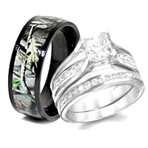 Camo Sterling Silver Wedding Ring Set For His And Hers