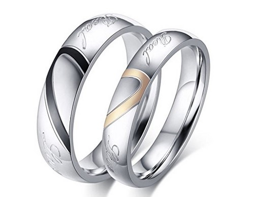 men and women stainless steel wedding band set