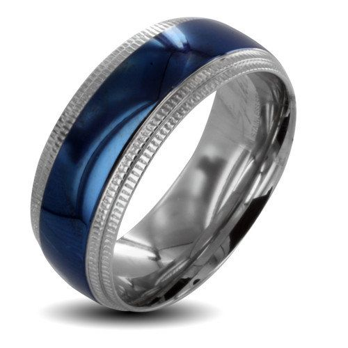 men s blue titanium spinner wedding band sang maestro