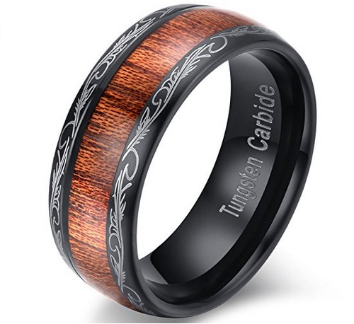men's wood grain black tungsten carbide wedding band
