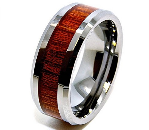 men's wood grain tungsten wedding band
