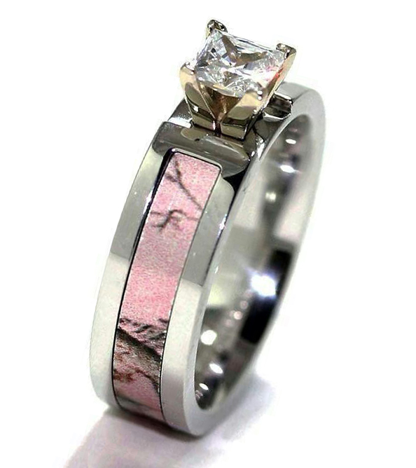 pink camo diamond wedding ring