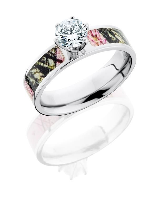 pink camo wedding ring with diamond