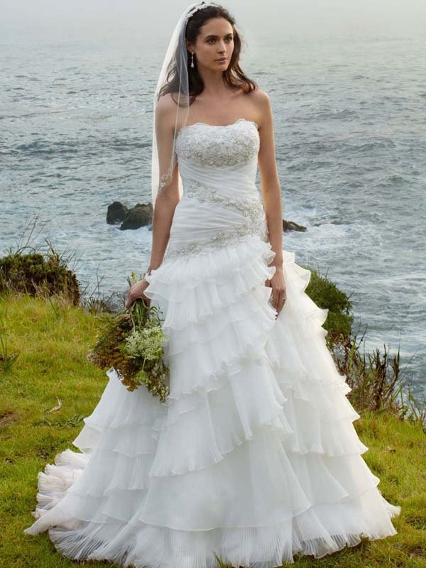 Strapless a line white beach style wedding dress david s for Davids bridal beach wedding dresses