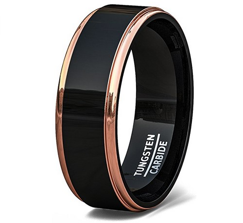 mens two tone black tungsten rose gold wedding band under $100