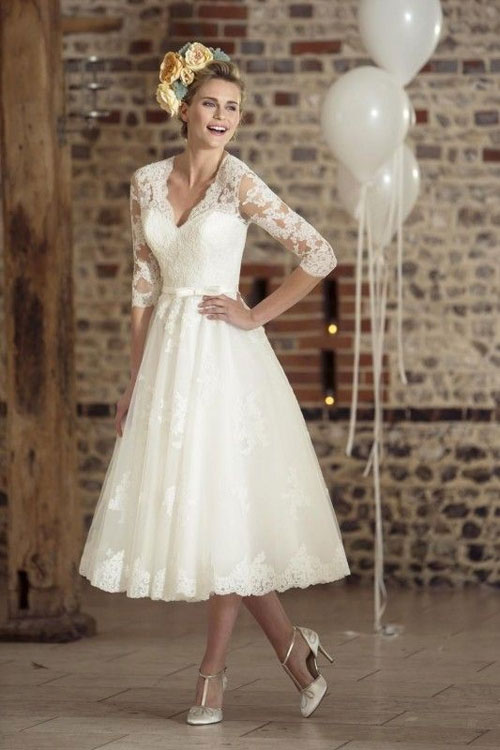 short lace vintage outdoor wedding dress