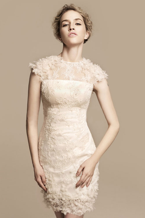short vintage destination wedding dress with cap sleeves
