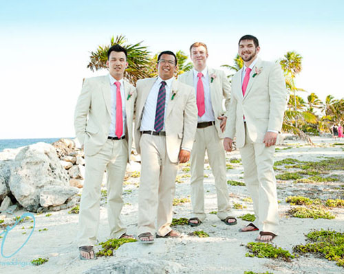 men beach wedding outfits with pink ties