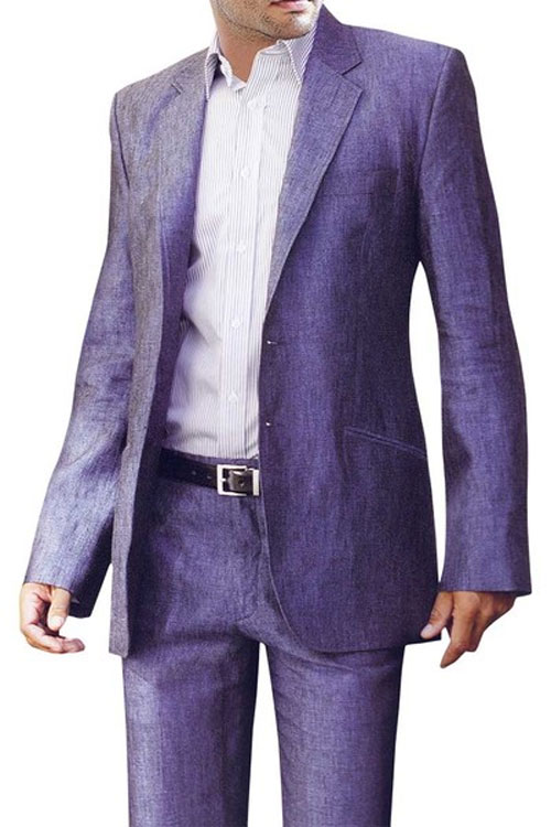 mens purple linen suit beach wedding
